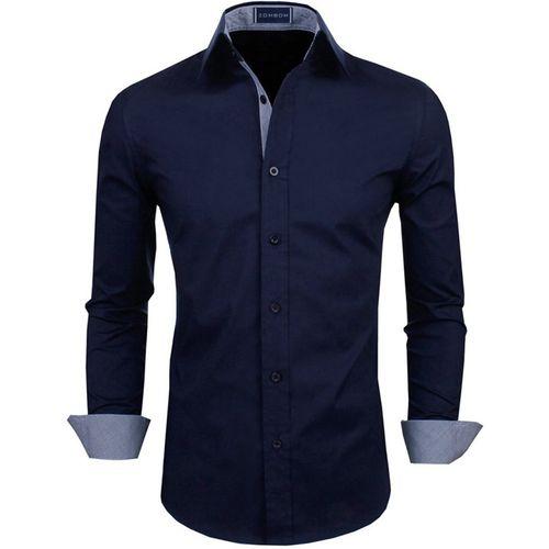 Zombom Men Solid Casual Dark Blue Shirt