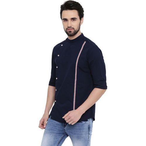 Rodid Men Solid Casual Dark Blue Shirt