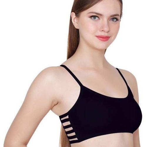 Your Shopping Store Women Bralette Lightly Padded Bra(Black)