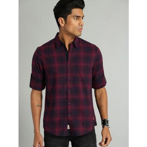 Roadster Men Checkered Casual Maroon Shirt