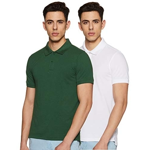 Amazon Brand - Symbol White & Green Cotton Solid Regular Fit Polo T-shirt