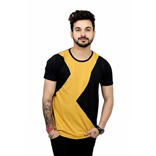 THE EG STORE Yellow Polyester Round Neck Half Sleeve T-Shirt