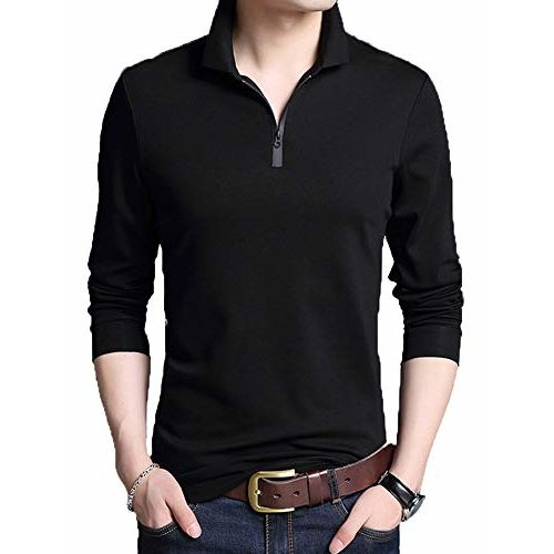 V3Squared black Cotton Sollid Collar neck Full Sleeve T-Shirt