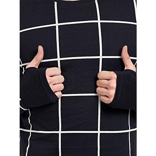 Maniac Men's Fullsleeve Round Neck Checked Thumb Hole Cotton Tshirts - (Black,Grey,Navy,White)