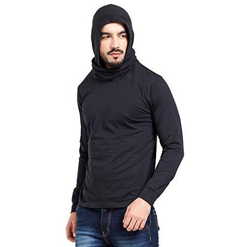 Maniac Men's Self Designed Fullsleeve Black Cotton Face Mask T-Shirt