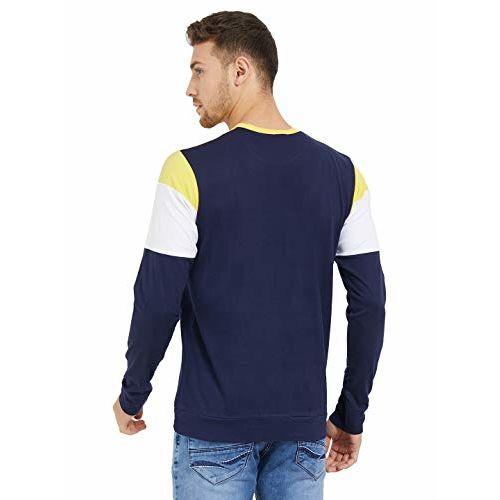 LEWEL Men's Full Slevee T-Shirts (Yellow, White, Dark Navy)