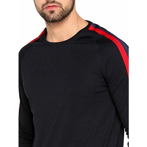 Maniac Men's Stripes Fullsleeve Raglan Neck Black Cotton T-Shirt