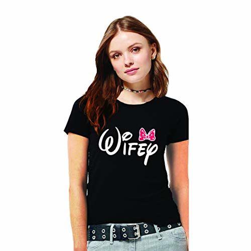 GiftsCafe Hangout Hub Couple Tshirts Hubby Wifey Printed Black Color for Men Women(Set of 2)
