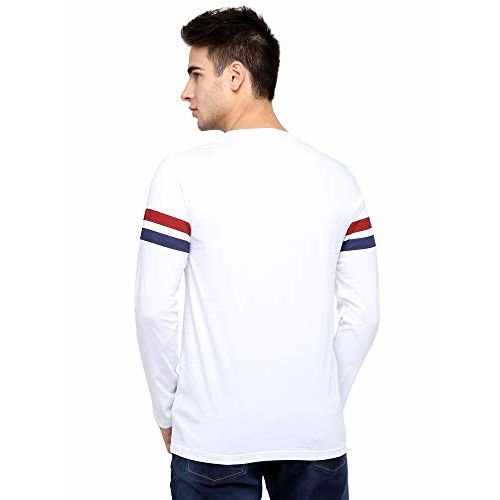 Maniac Printed Men's Fullsleeve Round Neck White Cotton Tshirt
