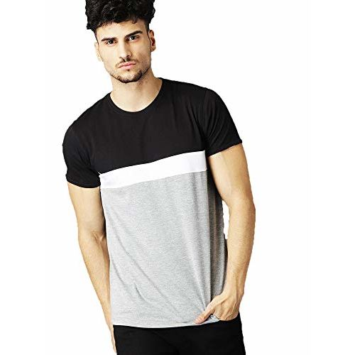 Leotude Men's Cotton Black Grey Round Neck Tshirts