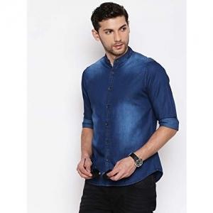 Dennis Lingo Blue Cotton Washed Slim Fit Denim Shirt