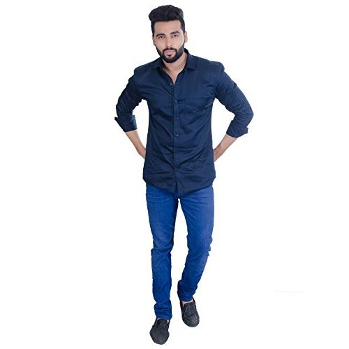 FIFTH ANFOLD Navy Blue Solid Pure Cotton Spread Collar Casual Shirt