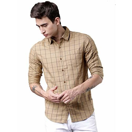 Tryme Fashion Men's Cotton Casual Checked Shirt for Men Full Sleeves