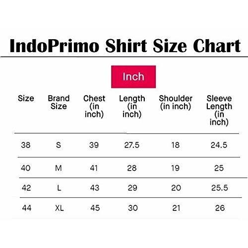 IndoPrimo Men's Cotton Casual Chinese Collar Full Sleeves Shirt