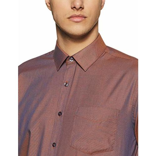 Amazon Brand Symbol Brown Solid Regular Fit Party Wear Shirt