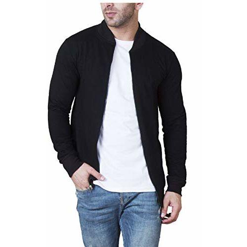 Veirdo Black Cotton Solid Full Sleeve Jacket for Men