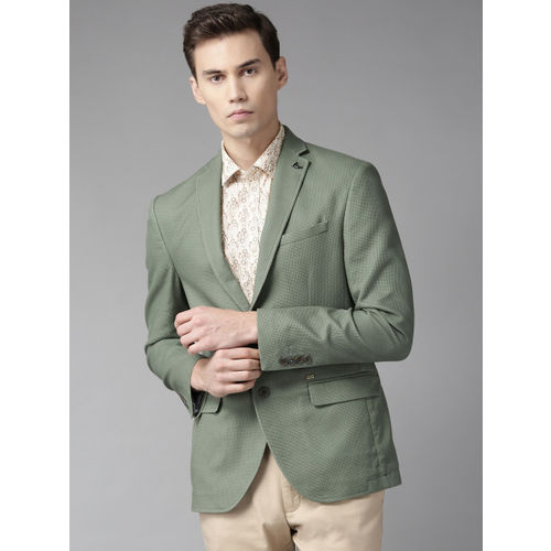 Blackberrys Men Green Slim Fit Self Design Smart Casual Blazer