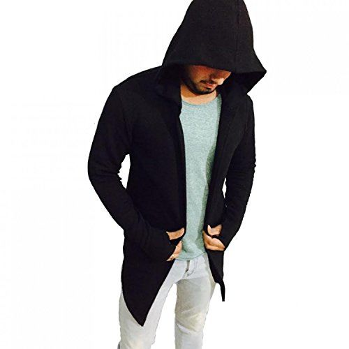 PAUSE Black Solid Cotton Hood Slim Fit Full Sleeve Men's Cardigan