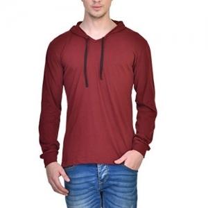 INKOVY Men's Hooded Full Sleeve T-Shirt (Maroon_Medium)