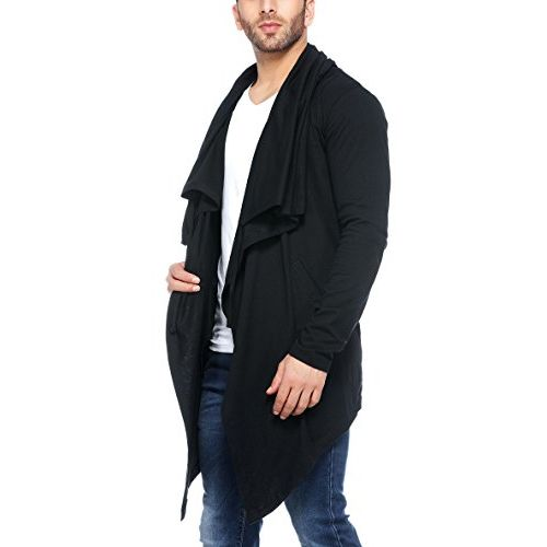 Tinted Men's Cotton Sinker Hooded Waterfall Full Sleeve Cardigan