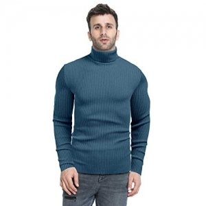 DENIMHOLIC Blue Cotton Solid Turtle Neck Sweater