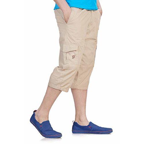 0-Degree Beige Cotton Regular Fit Three Quarter Shorts