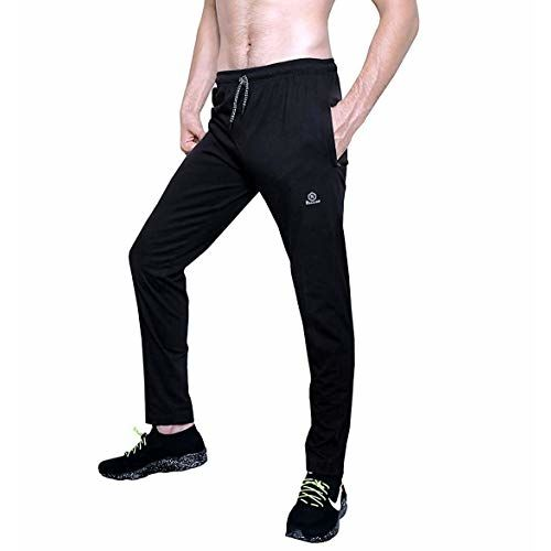 ROLLTOP Men's Cotton Rich Blend Track Pants, Joggers, Sports Gym Lower Pajama with Zip Pockets Slim Fit
