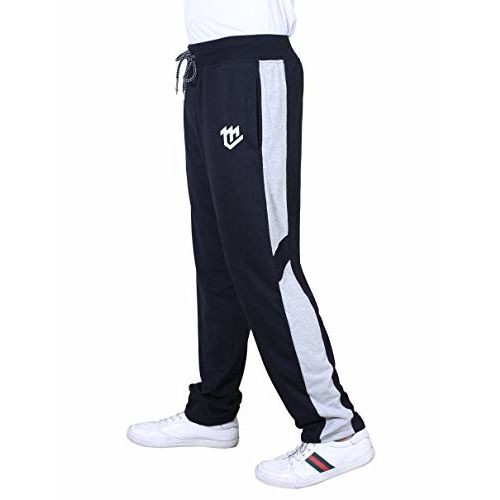 MARK LOUIIS Soft Cotton Broad Side Line Track Pants, Lowers for Men for Regular Wear, Gym Wear, Running and Night Wear with 2 Zipper and 1 Back Pocket.