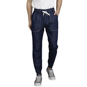 VERSATYL Men's Cotton Denim Slim Fit Fully Reversible Track Pants with 4 Pockets