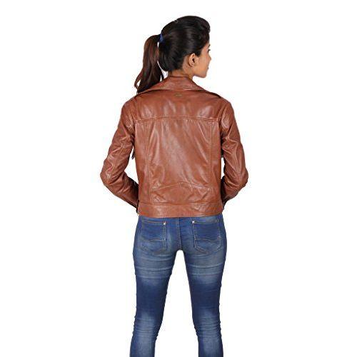 THEO & ASH Modern Biker Leather Jacket for Women, Brown