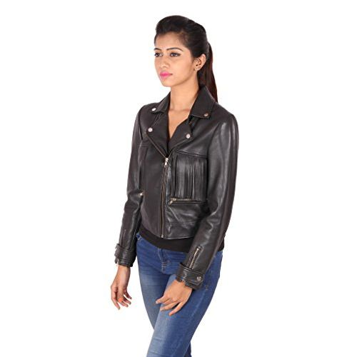 THEO & ASH Modern Biker Leather Jacket for Women, Black