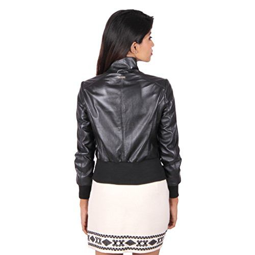 THEO & ASH Cropped Bomber Leather Jacket for Women, Black