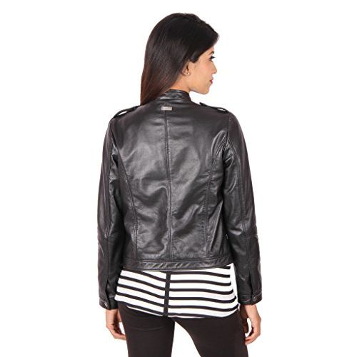THEO & ASH Classic Zipper Leather Jacket for Women, Black