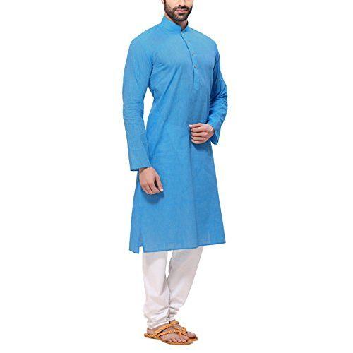 RG Designers Cotton Blended Handloom Dark Blue Self Design Kurta Pyjama Set for Men