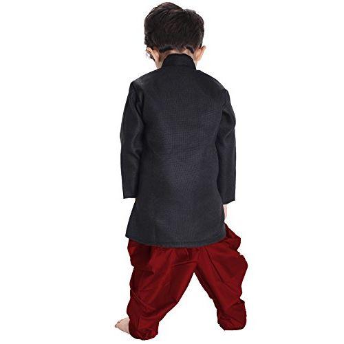 JBN Creation Boys' Black Cotton Blend Sherwani Style Kurta Set