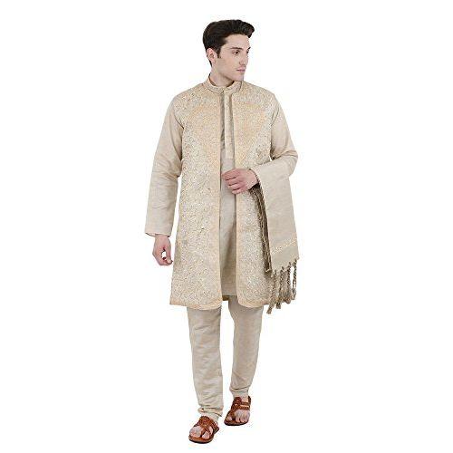 SKAVIJ Sherwani for Men Kurta Pajama Jacket and Stole Set Party Dress