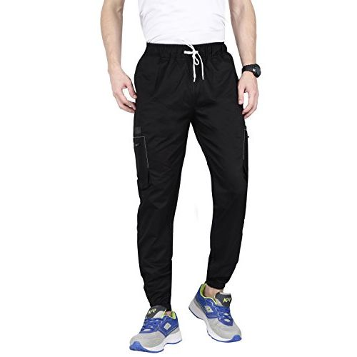 VERSATYL Black Cotton Solid Casual Trousers
