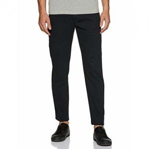Amazon Brand - Symbol Black Cotton Solid Casual Trousers