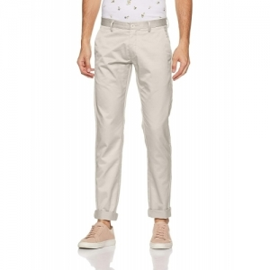 Ruggers by Unlimited White Polyester Solid Slim Fit Casual pants