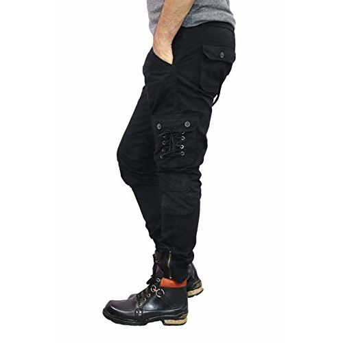 Urban Legends Men's 6 Pocket Relaxed and Regular Fit Cotton Cargo Jogger Pants with Elasticated Stretchable Zipper Bottom, Design for Casual and Sporty Looks.(Black)