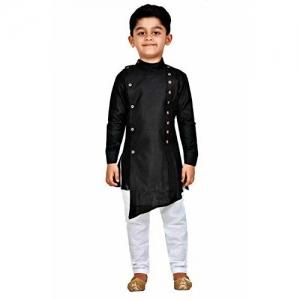 Kashvi Black Cotton Kurta Pyjama Dress