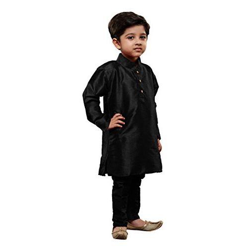 JBN Creation Boys' Cotton Silk Solid Kurta and Churidar Pyjama Set