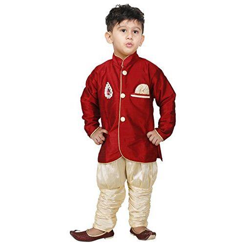 JBN Creation Boys' Cotton Silk Combo set of one indo-western style kurta, one jodhpuri breedges and a dhoti pant.