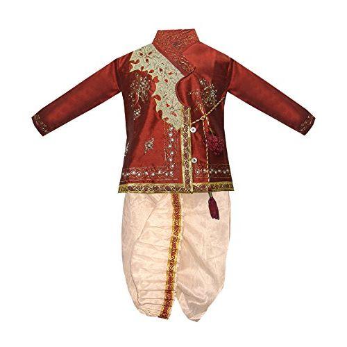 JBN Creation Boy's Cotton Silk Angrakha Kurta Pyjama