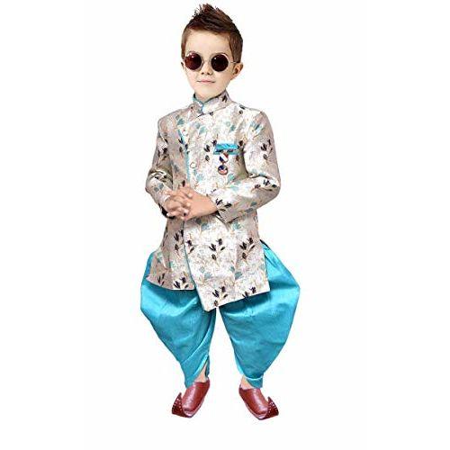 Tucute Kids Ethnic Wear Cotton Blend Sherwani Style Kurta and Pyjama Set for Boys