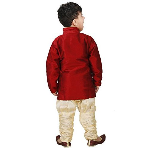 JBN Creation Boys Cotton Silk Kurta and Pyjama Set (Maroon_VASBSW035new)