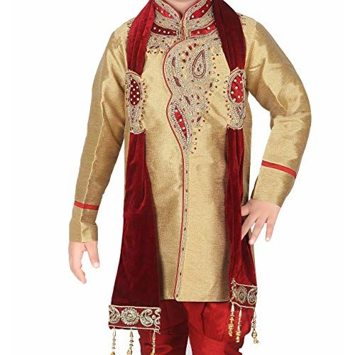 Ahhaaaa Kid's Indian Ethnic Handwork Embroidery Sherwani and Breeches Set With Dupatta Special Traditional Collection for Boys_417