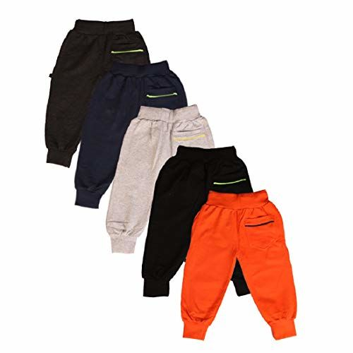 Finger's Boys Girls Kids Pack of 5 Track Pants Pajamas Joggers Sweatpants Cotton Sports Athletic Casual wear with F09 Design Embroidery in Black, Grey,