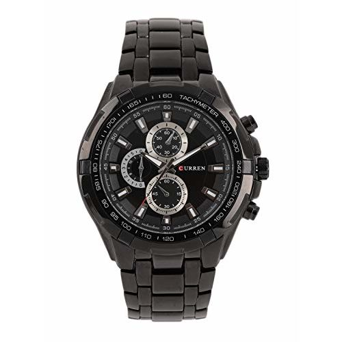 CURREN CUR007 Black Round Stainless Steel Chronograph Watch