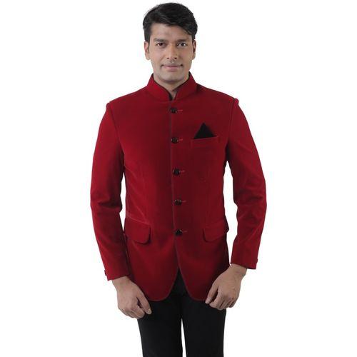 Hangup Solid Single Breasted Formal Men Blazer(Red)